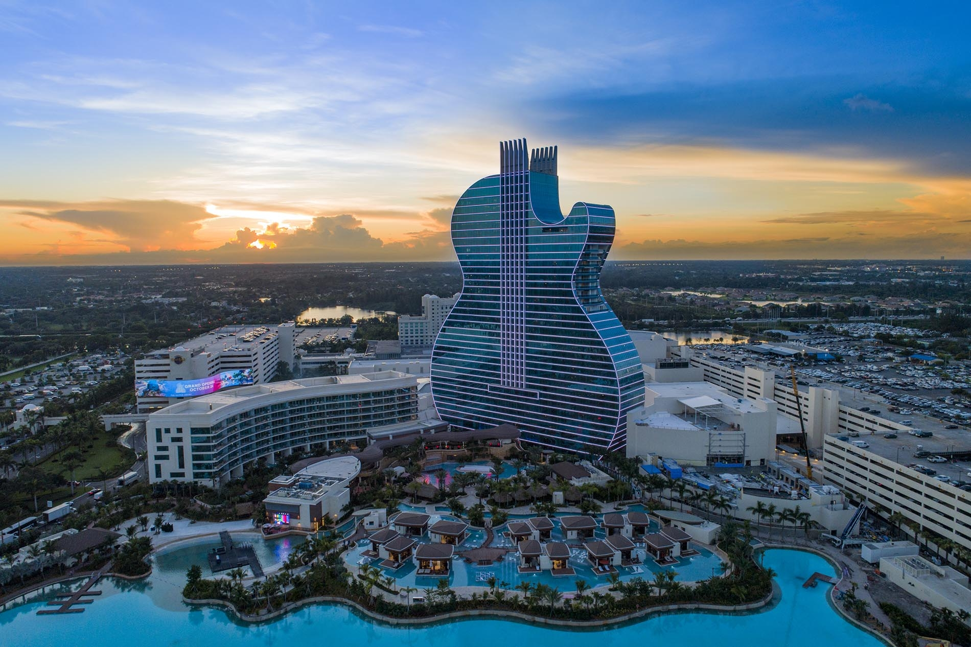 Drone Photography of the Hard Rock Hotel and Casino in Hollywood Florida at Sunset