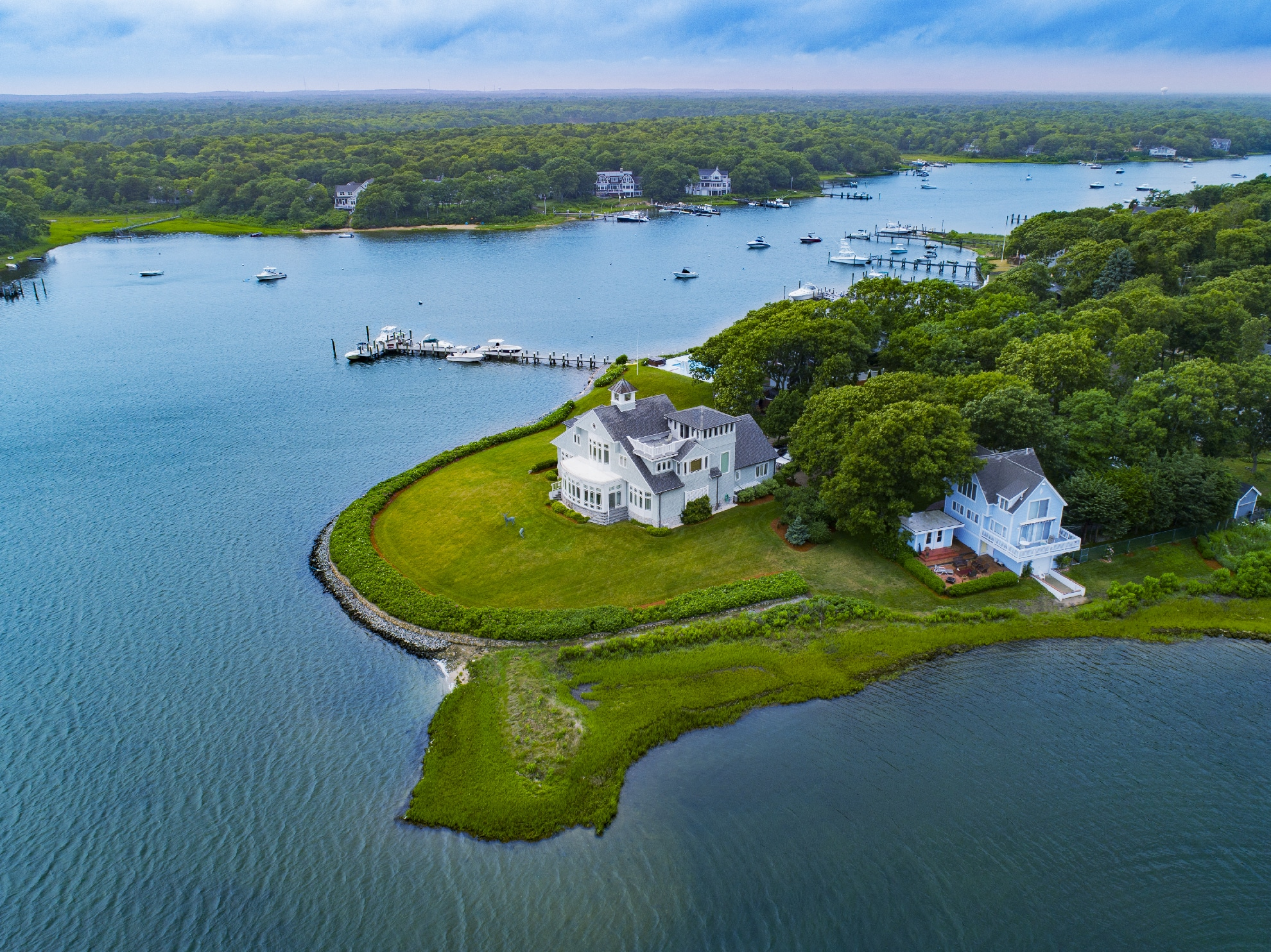 Drone Photograph of Home on Falmouth Point Massachusetts