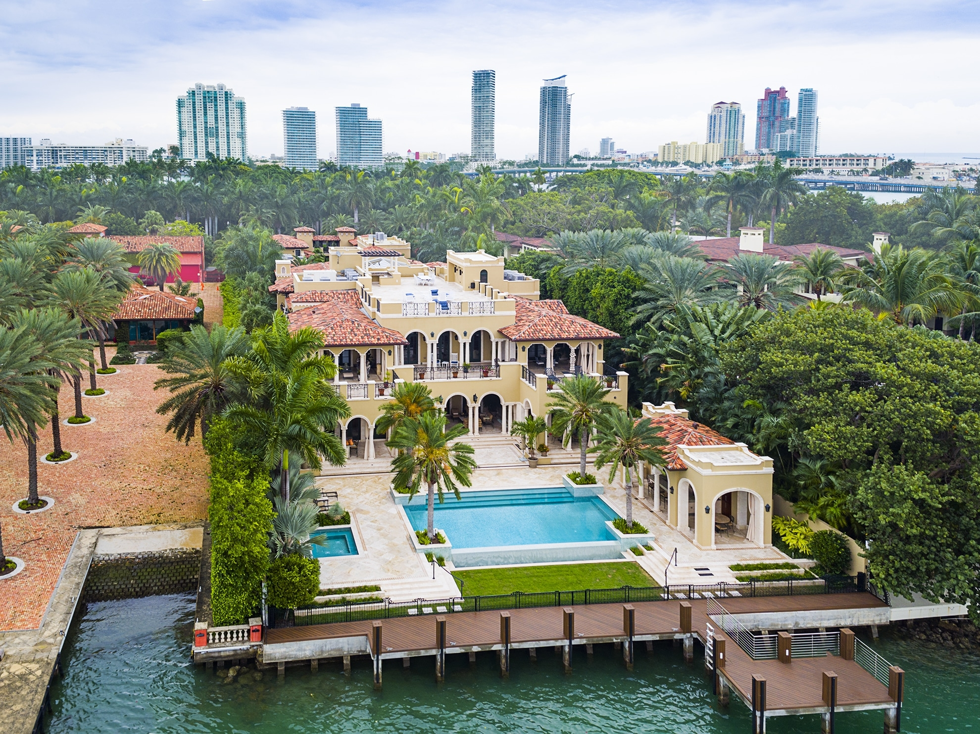 Drone Photograph of Mansion on Star Island Miami Beach, Florida