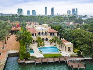 Drone Photograph of Mansion on Star Island Miami Beach, Florida