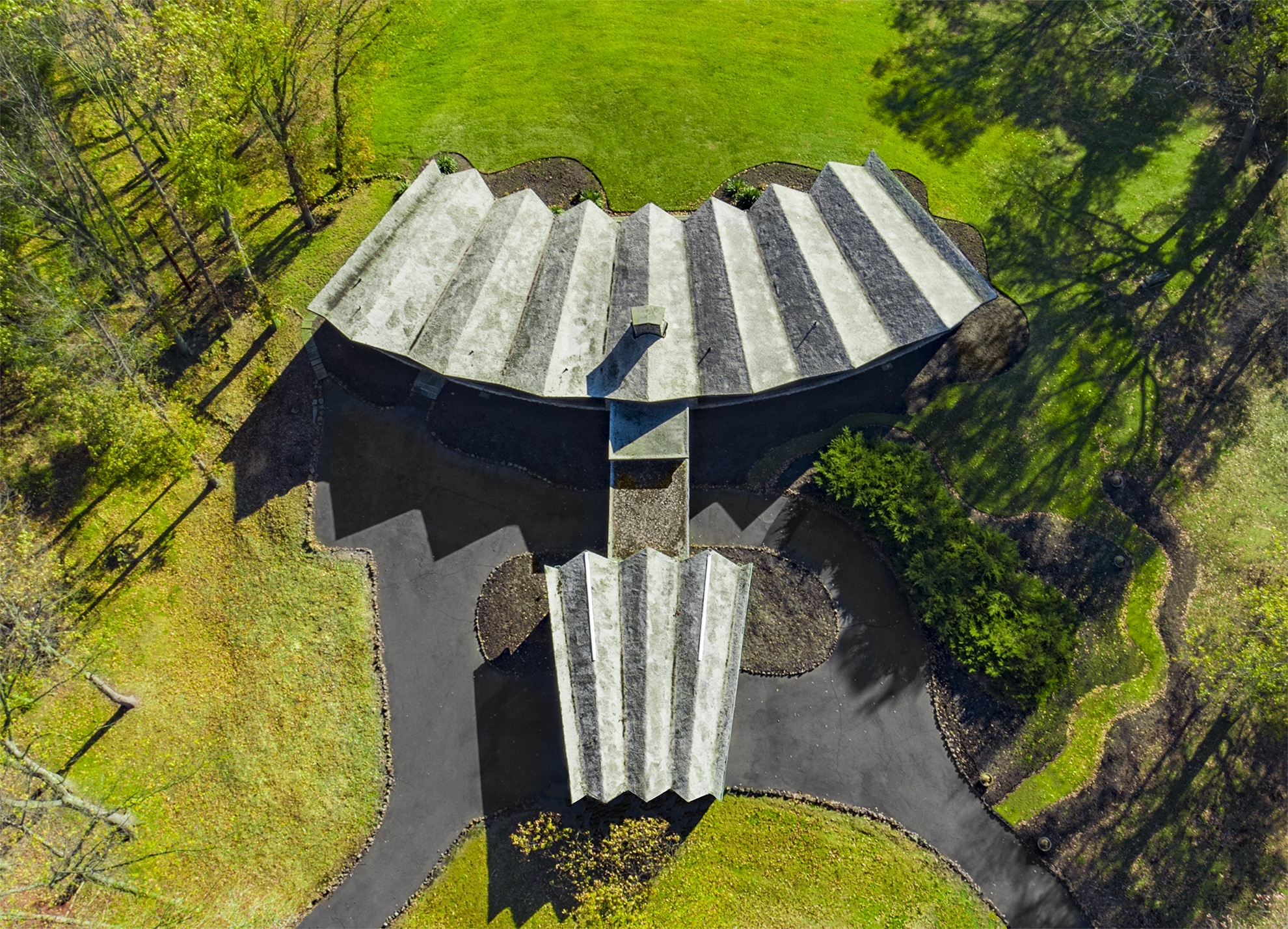 Drone Photograph of 1960's Modern Home in West Orange New Jersey