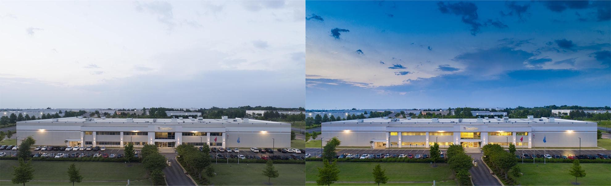 Split Screen photo of before and after retouching of a drone photograph of Pharmedium Memphis, TN