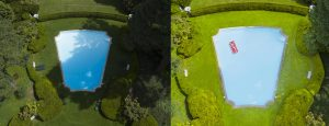 Split Screen photo of before and after retouching of a drone photograph of Women in Art Deco Pool
