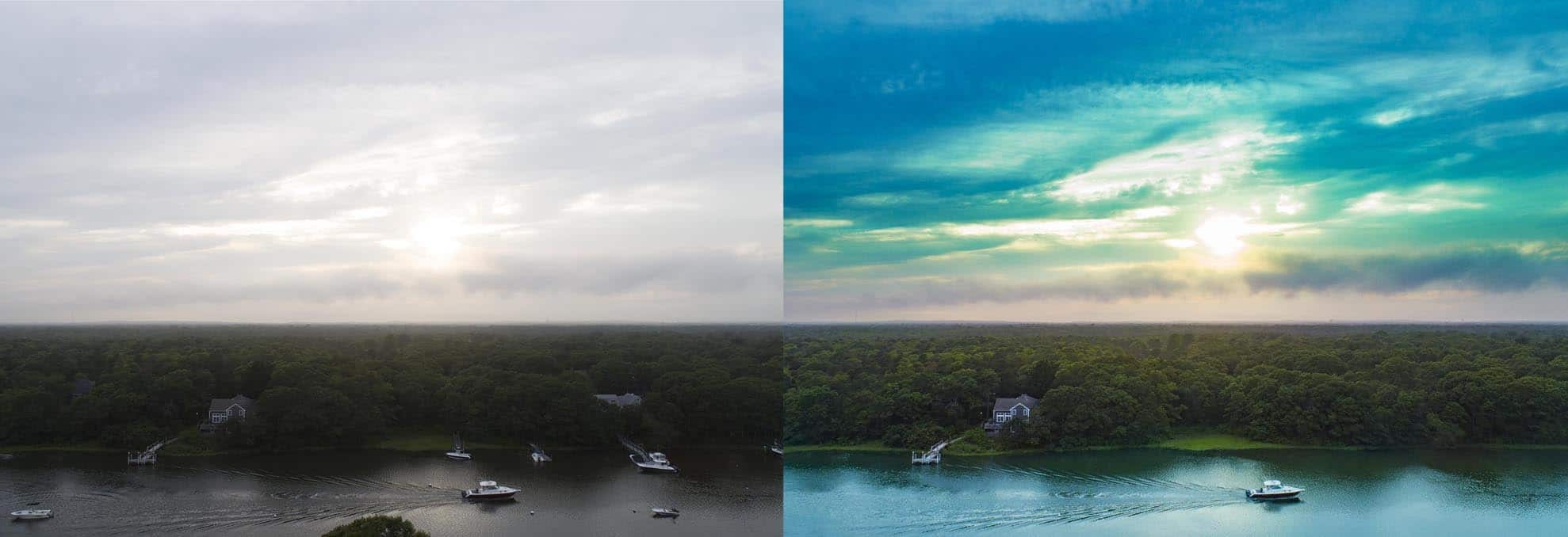 Split Screen photo of before and after retouching of a drone photograph of Boat going up Falmouth inlet Cape Cod MA