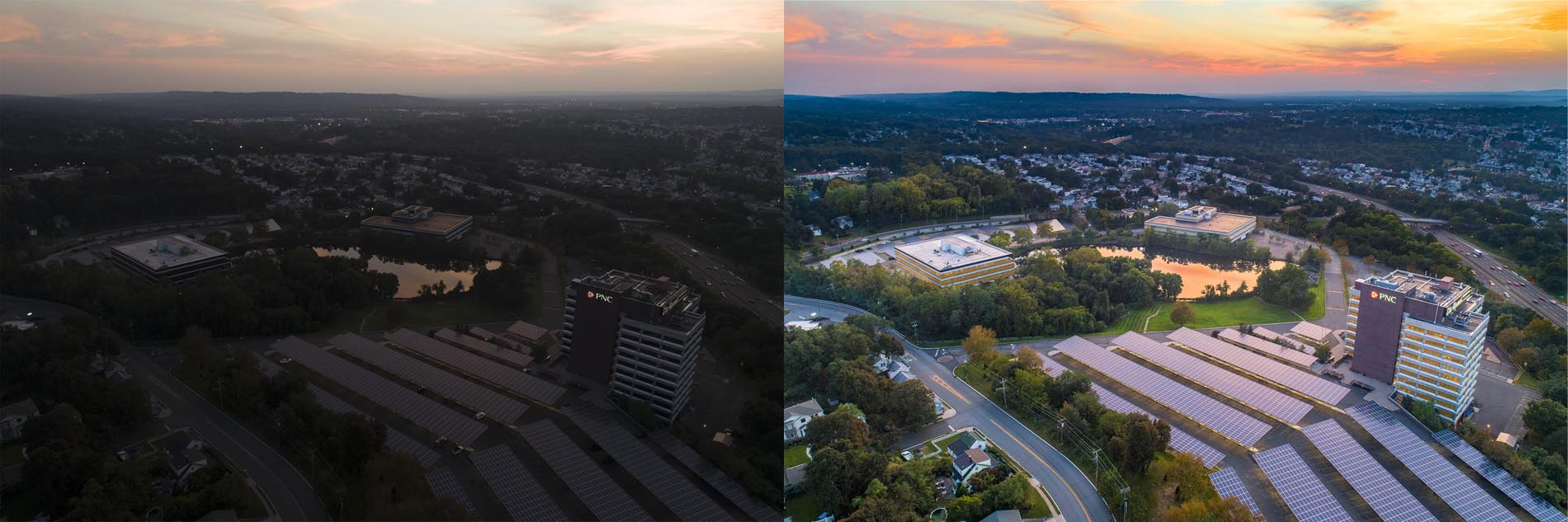 Split Screen photo of before and after retouching of a drone photograph of Garrett Mountain Office Complex