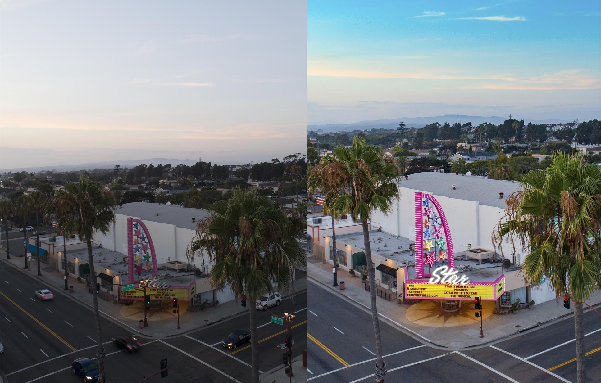 Split Screen photo of before and after retouching of a drone photograph of Star Theatre Oceanside, CA