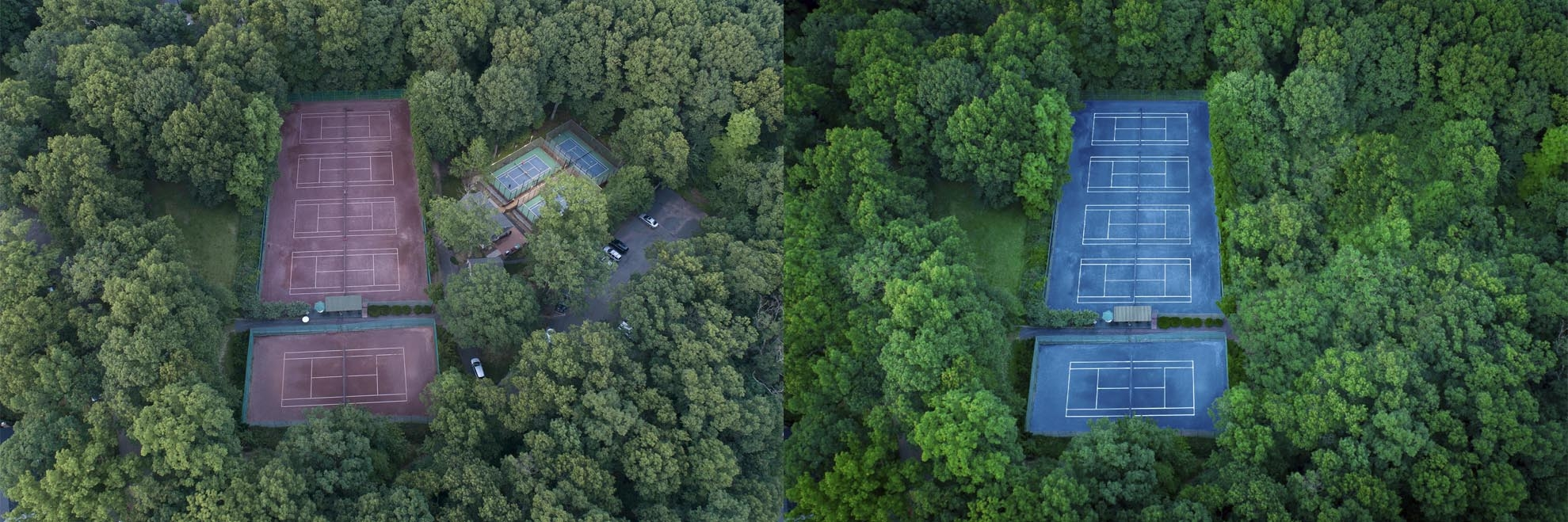 Split Screen photo of before and after retouching of a drone photograph of Tennis Courts Mountain Lakes NJ