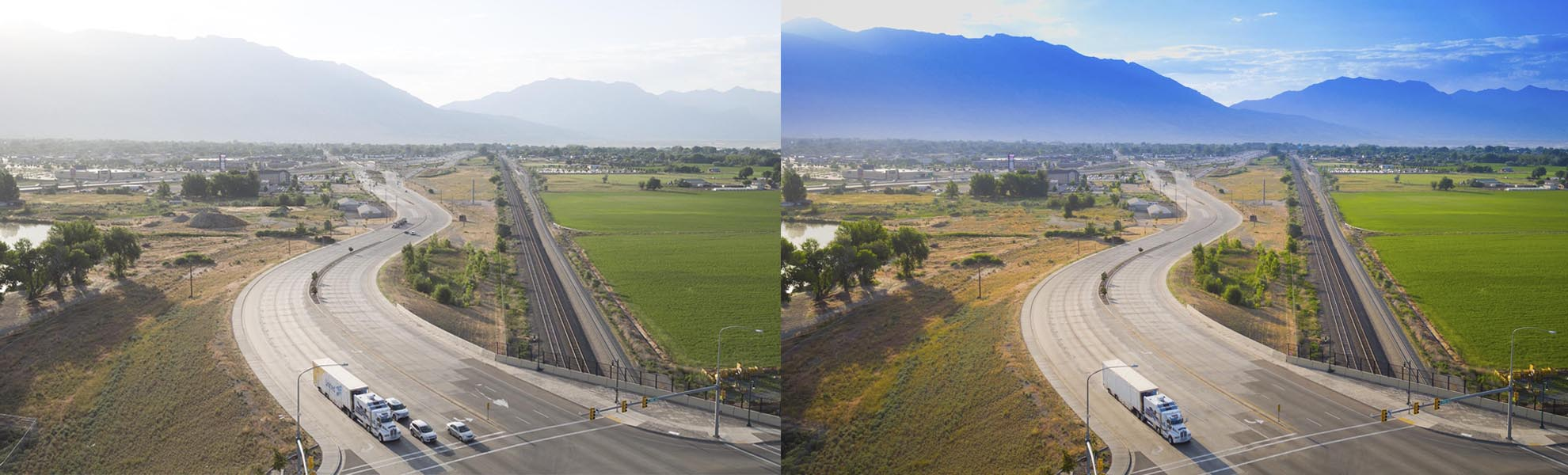 Split Screen photo of before and after retouching of a drone photograph of Moving Truck on road in American Fork UT