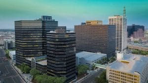Drone Photograph taken at sunset of Gateway Plaza in Newark New Jersey