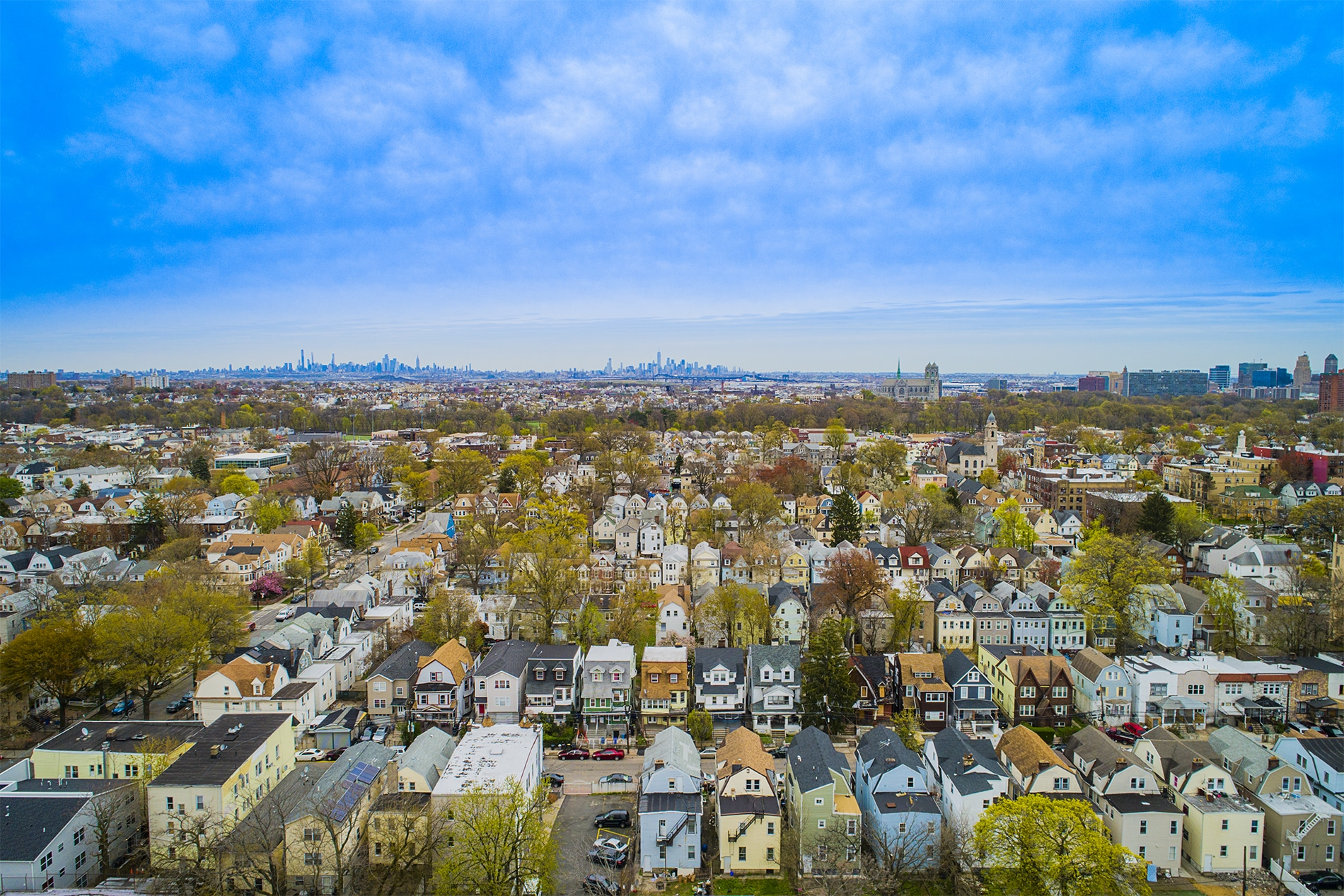 Drone Photograph taken of a neighborhood in North Newark in Newark New Jersey