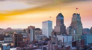 Drone Photograph taken at sunset of Newark New Jersey