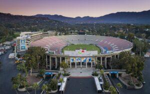 Drone Photograph of the RoseBowl at sunrise Pasadena, CA