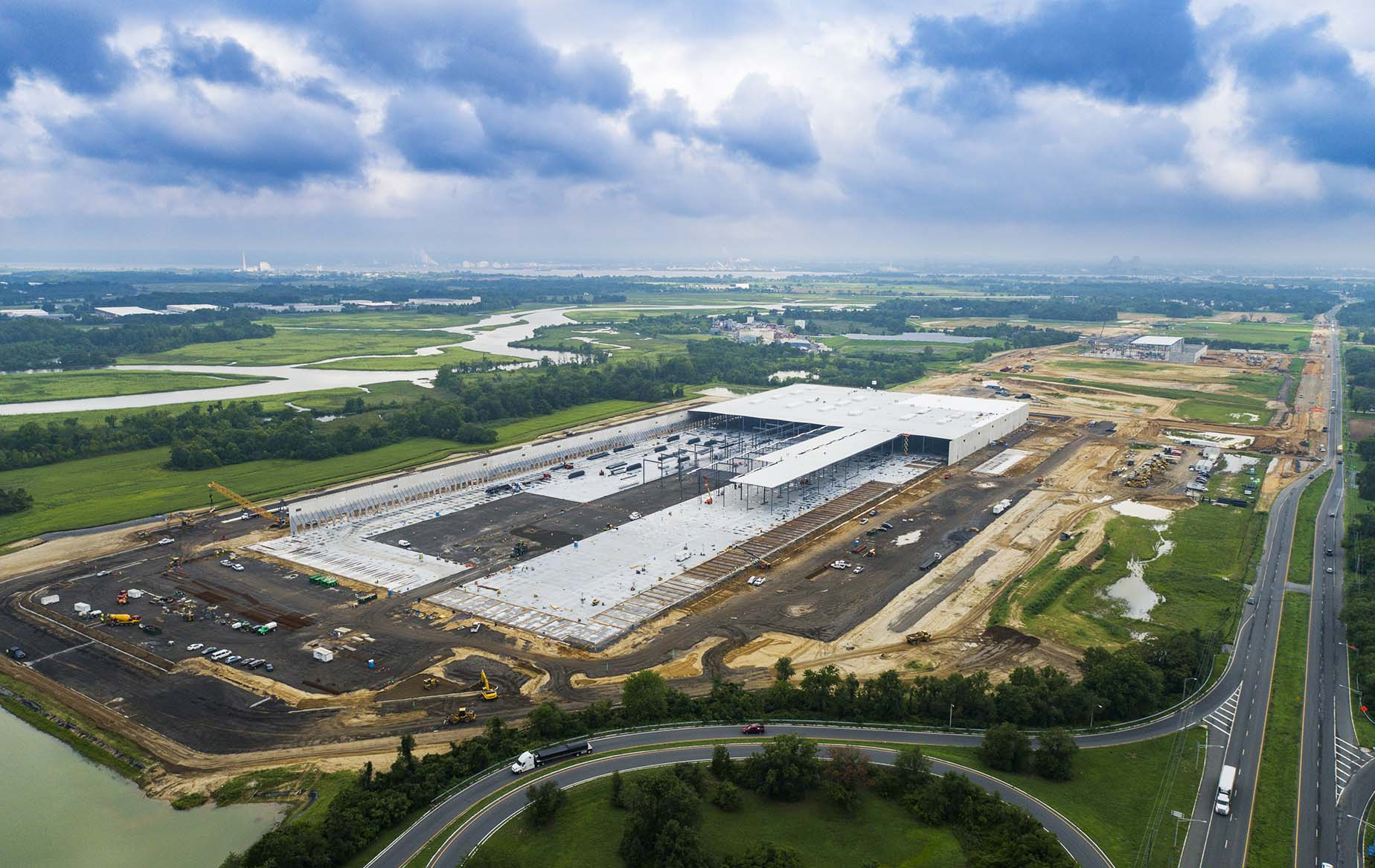 Drone Photograph of a Construction site in Logan township New Jersey