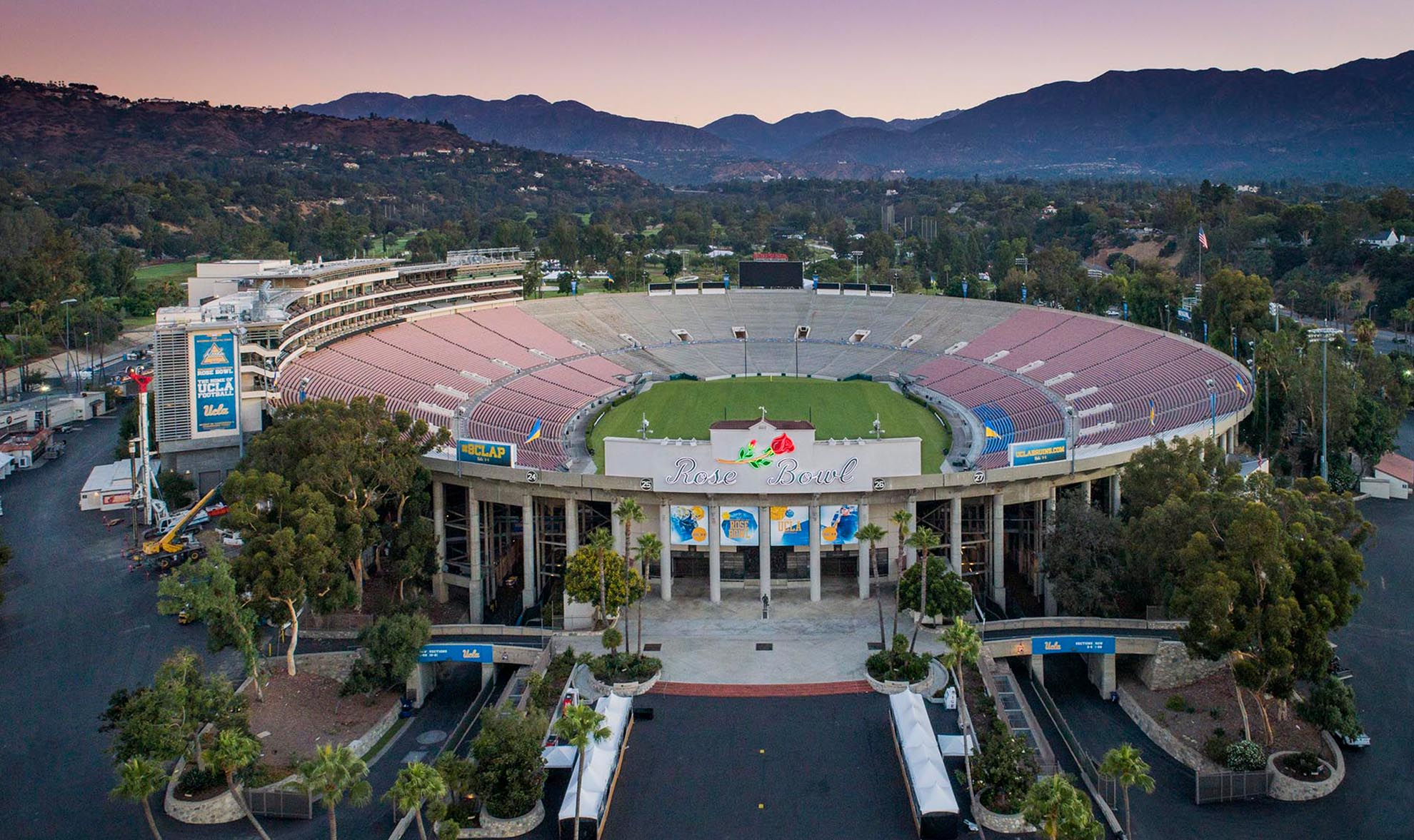 Drone Photograph of the RoseBowl at sunrise Pasadena, CA