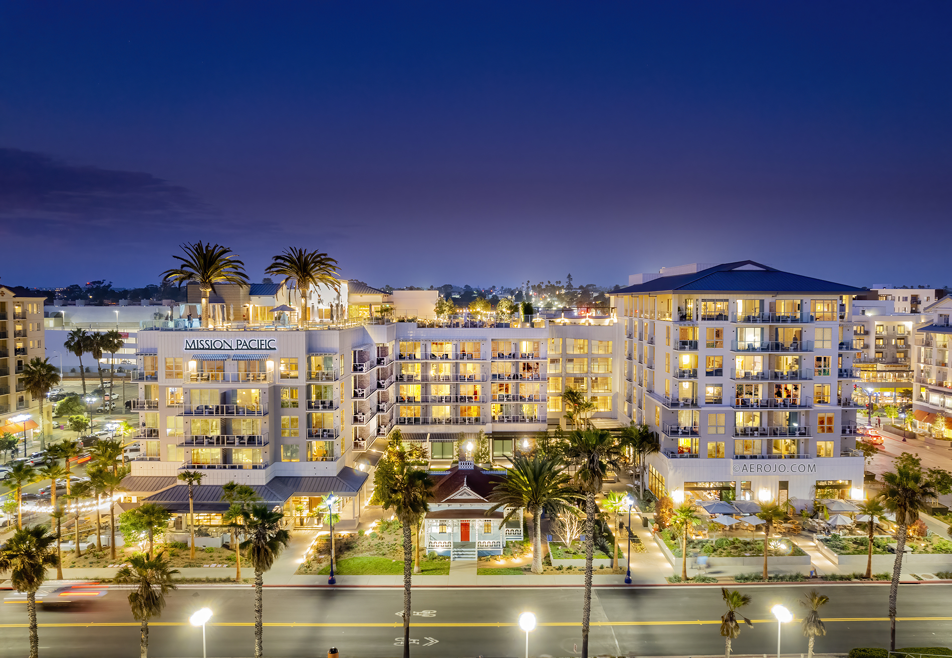 Drone Photograph of the Mission Pacific Hotel at Night