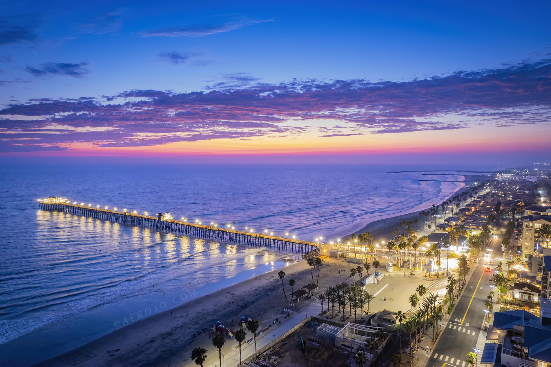 Drone Photograph of the Oceanside Pier at Night